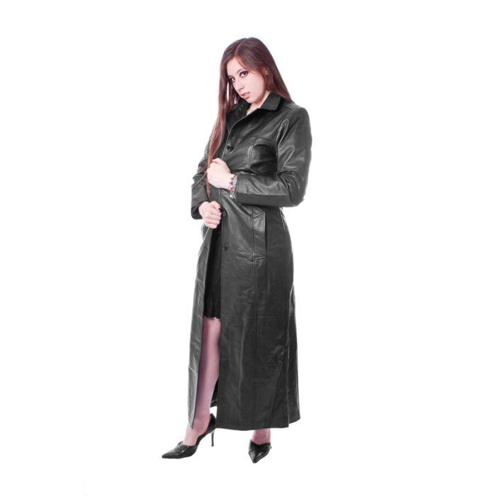 Damen mantel mit leder