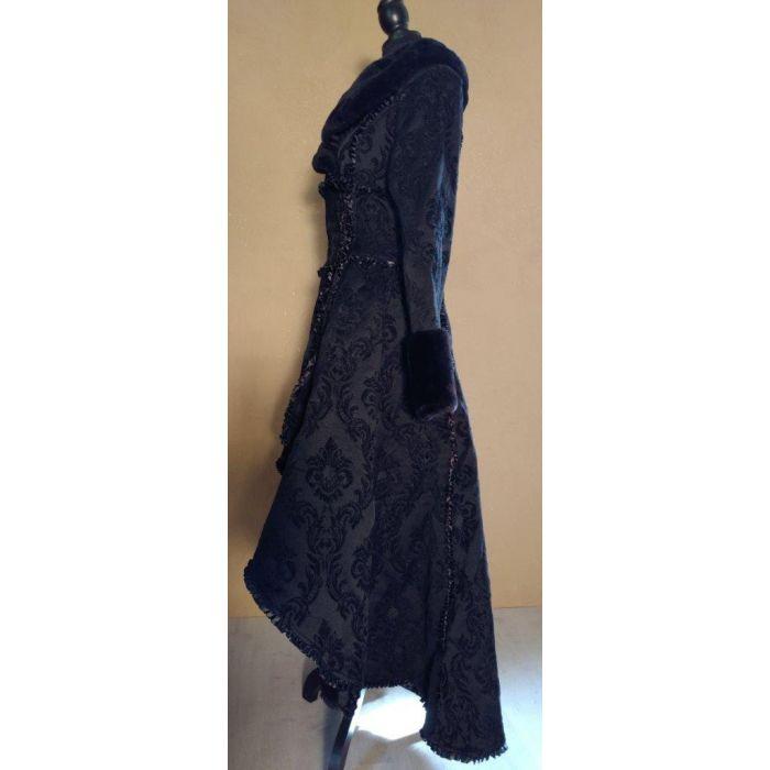ca71663d8a5a8d Steampunk Mantel Damen Brokat viktorianisches Muster mit Kunstfellkragen  gothic