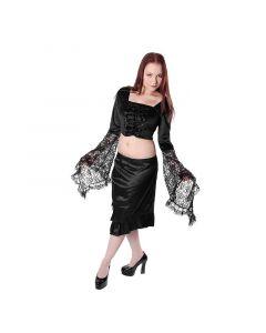 kurze Mittelalter Gothic Bluse aus Samt mit Sptize abgesetzt schwarz Oberteil