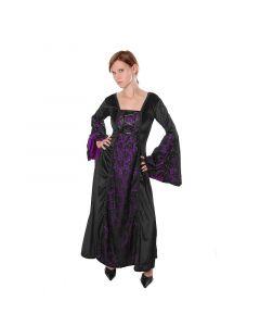 Gothic Mittelalter Samtkleid schwarz mit lila Spitze Larp