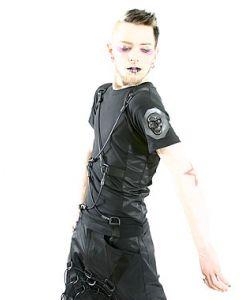 Span Shirt Baumwolle/Satin/Skull Black