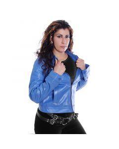 Blaue Damen Leder Jacke