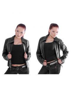 schwarze Damen Leder Jacke