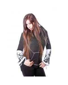 Witch Zipper Hoodie schwarz weiß mit Print