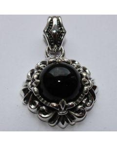 Anhänger mit schwarzen Stein in echt 925 Sterling Silber