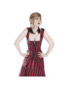 geschnürtes Minikleid stripes red
