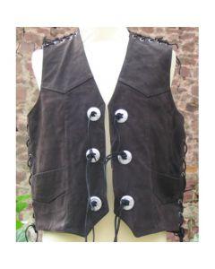 Lederweste aus nubuck braun mit Seiten und Schulterschnürung und