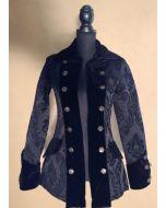 Steampunk Mantel Damen Gehrock Piratenmantel Brokat schwarz Brokade gothic kurz