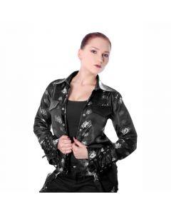 gothic Jacke schwarz mit Spinnen und Armschnürung Hemd