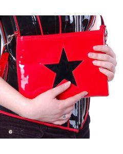 Lacktasche rot mit schwarzem Stern