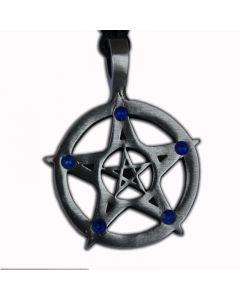 Pentagram Anhänger mit blauen Steinen