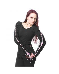 schwarzes longsleeve Top mit schnürung Rosa