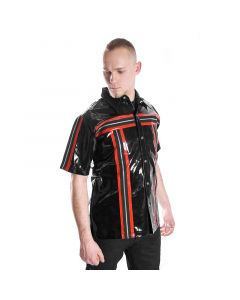 schwarz rotes Lack kurz Arm Hemd