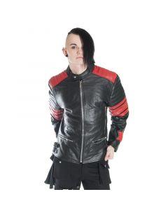 Herren Motorradjacke 100 % Leder, mit roten Streifen