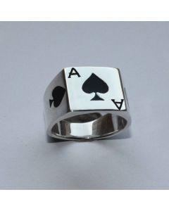Pik ASS Ring mit echt 925 Sterling Silber