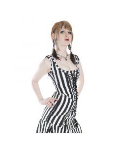 geschnürtes Minikleid stripes white