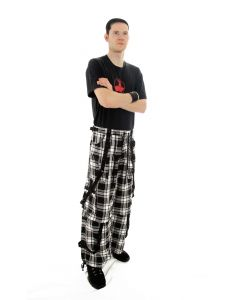 Punk Tartan Baggy black and white