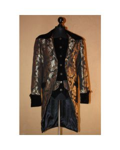 Piratenmantel Steampunk Brokat schwarz gold Gehrock