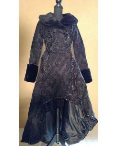 Steampunk Mantel Damen Brokat viktorianisches Muster mit Kunstfellkragen gothic