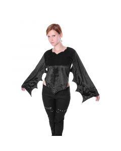 Gothic Oberteil aus Samt mit Fledermaus Ärmeln schwarz Mittelalter Bluse