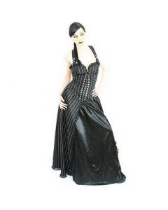 Punk Long Dress Pin Stripe Black/White