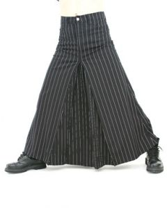 Men Skirt Pin Stripe Black/White