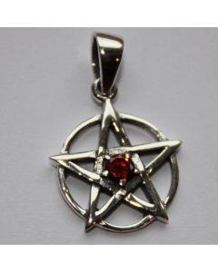 Pentagramm mit rotem Stein