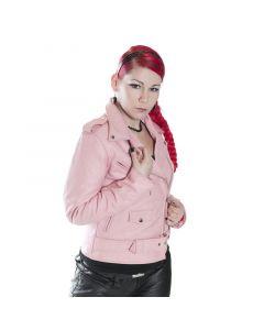 Damen Motorradlederjacke, 100 % Leder, pink