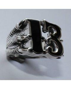 Ring 13 mit Kralle in echt 925 Sterling Silber