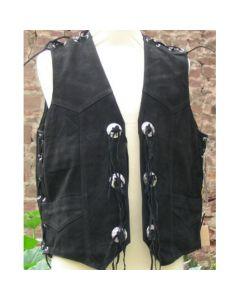Lederweste aus nubuck black mit Seiten und Schulterschnürung und