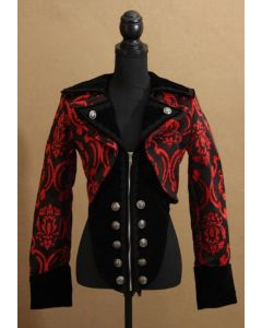 Steampunk Damenweste Brokat rot mit Samt schwarz