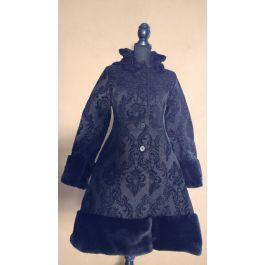 Mantel Brokat Damen viktorianisches mit Muster Steampunk Kunstfellkragen braun mnN0wv8